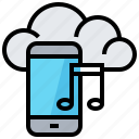cloud, data, file, music, smartphone, technology icon