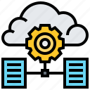 cloud, data, file, gear, service, technology icon