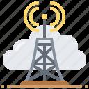 antenna, cloud, data, file, technology, wireless icon