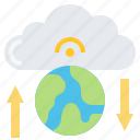 cloud, data, earth, global, technology, transfer icon
