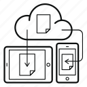 cloud, document, mobile, sync, tablet, update, data icon
