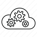 cloud, data, paas, platform, server, service, settings icon