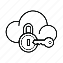 cloud, key, lock, private cloud, protection, secure, storage icon