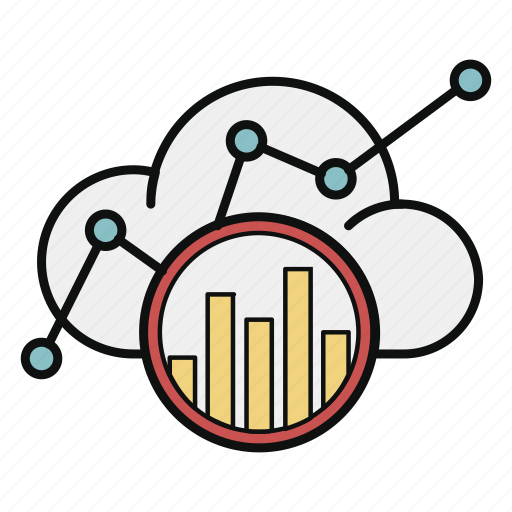 analytics, chart, cloud, data, graph, marketing, statistics icon
