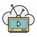 cloud, cloud broadcast, data, retro tv, storage, tv icon