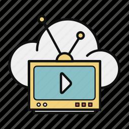cloud, cloud broadcast, data, retro tv, storage, tv icon