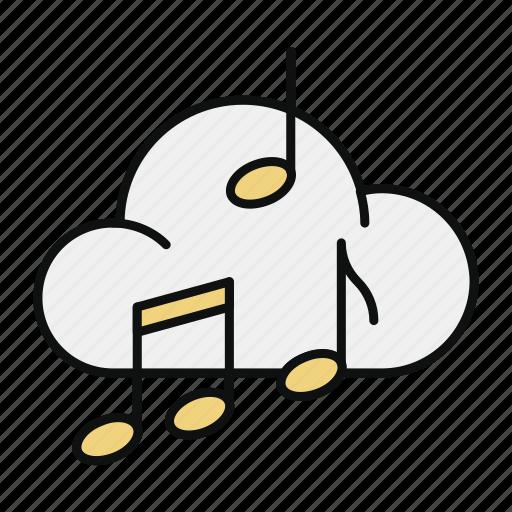 audio, cloud, music, player, sound, storage icon
