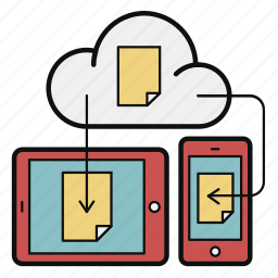 cloud, document, mobile, storage, sync, tablet, update icon
