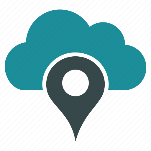 cloud, location, map pointer, pin, place, search, web icon