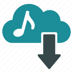 audio, cloud, download, downloading, music, play, sound icon