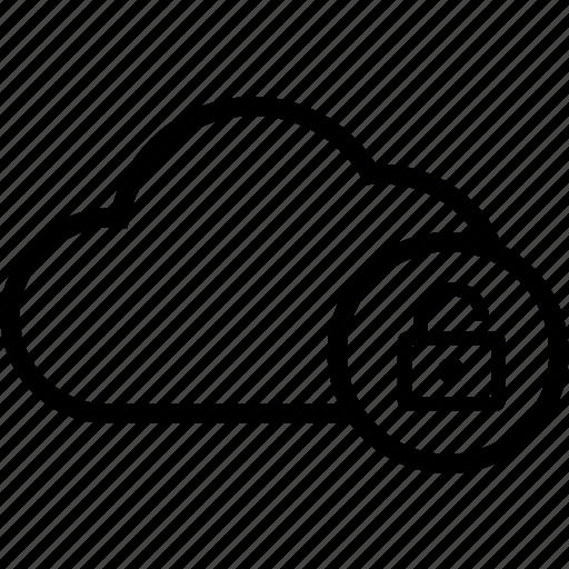 cloud, cloud computing, lock, secure, unlock icon
