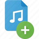 add, audio, file, music, sound icon