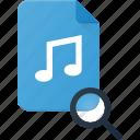 audio, file, music, search, sound icon