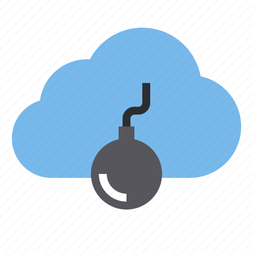 bomb, cloud, storage, technology icon