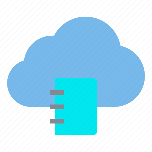 book, cloud, storage, technology icon