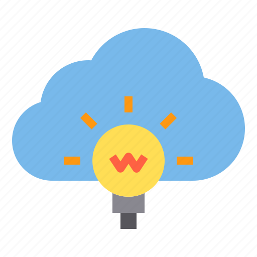 cloud, idea, light, storage, technology icon
