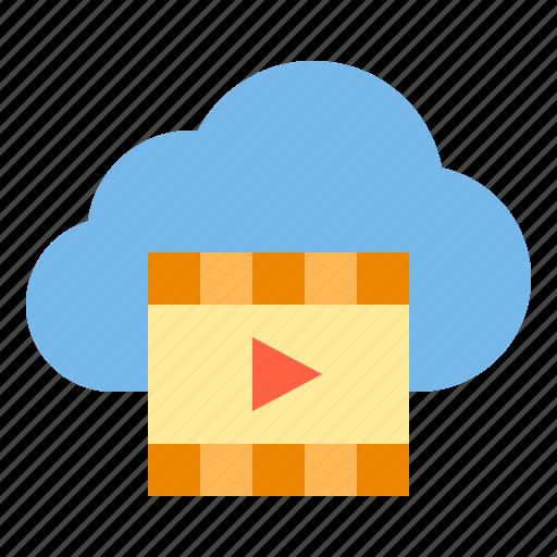 cloud, movie, storage, technology icon