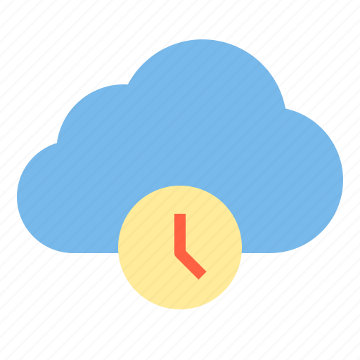 cloud, storage, technology, time icon