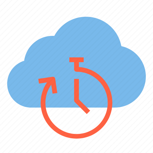 cloud, stopwatch, storage, technology, time icon
