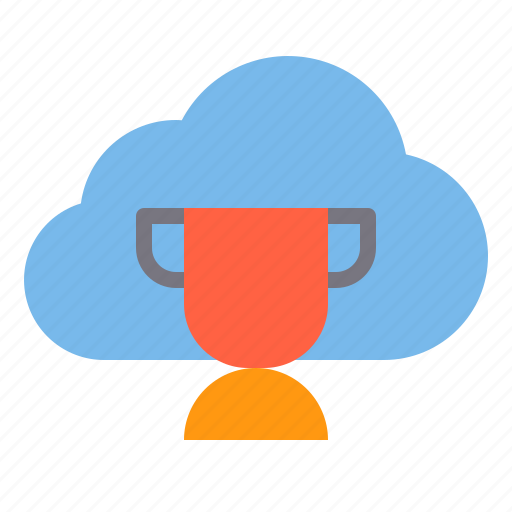cloud, storage, technology, trophy icon