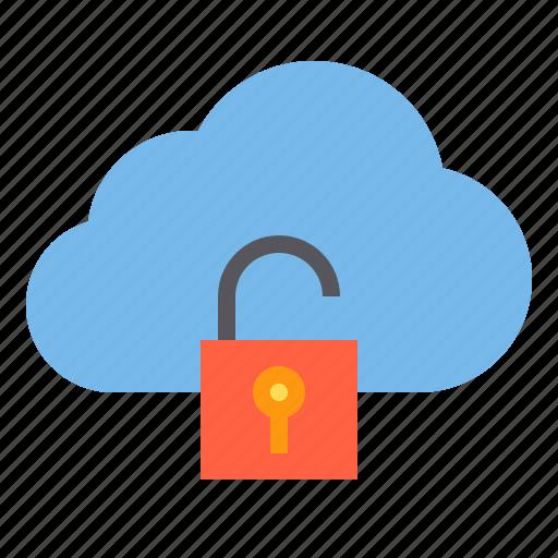 cloud, storage, technology, unlock icon