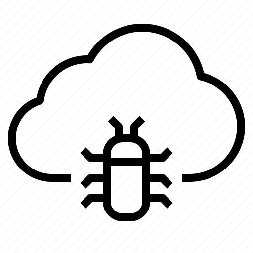 bug, cloud, storage, technology icon