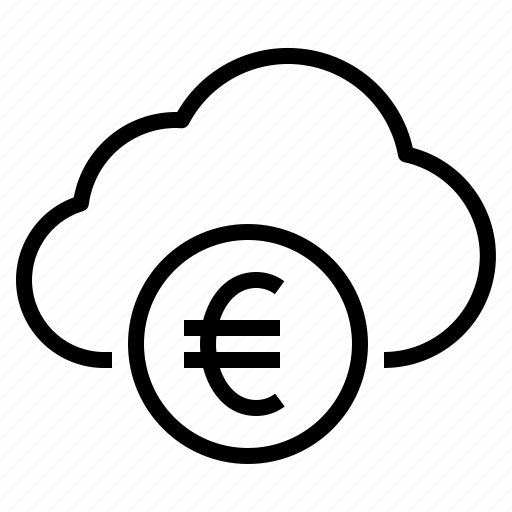 business, cloud, euro, money, storage, technology icon