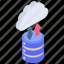 cloud data transfer, cloud database, cloud hosting, cloud storage, data transmission icon