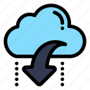 arrow, cloud, data, down, download icon