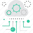 cloud, data, information, management, organization, process, processing icon