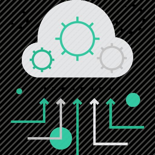 cloud, data, information, management, organization, process, processing icon