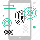 fingerprint, id, identification, lock, mobile, smartphone, touchscreen icon