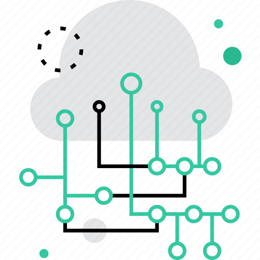 cloud, computing, data, flow, hosting, information, network icon