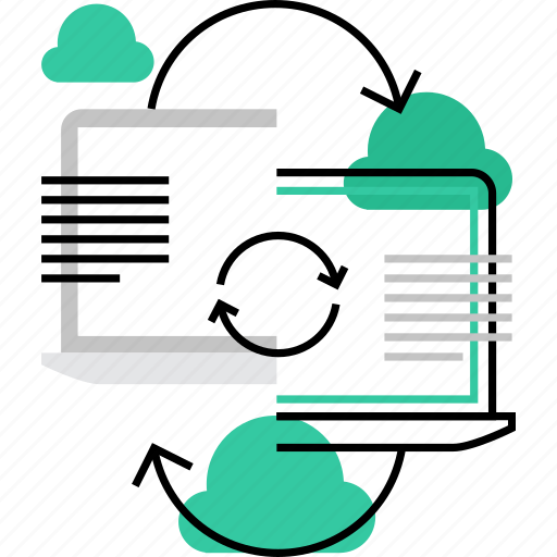 cloud, computer, connect, content, data, information, sync, synchronization icon