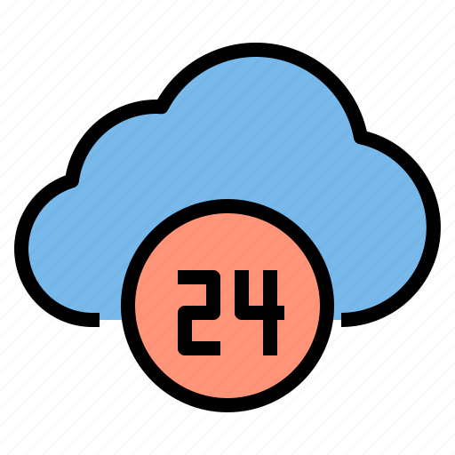 cloud, hour, online, storage, technology icon