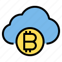 bitcoin, cloud, money, storage, technology icon