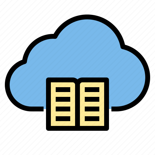book, cloud, library, storage, technology icon