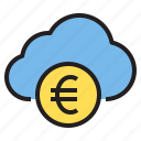business, cloud, euro, money, storage, technology icon