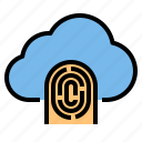 cloud, fingerprint, storage, technology icon
