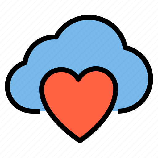 cloud, heart, love, storage, technology icon