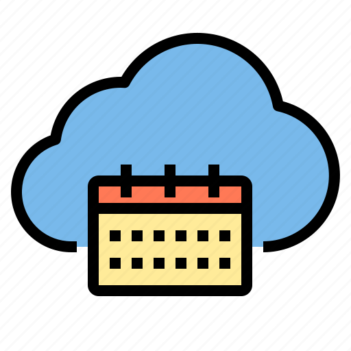 calendar, cloud, meeting, storage, technology icon