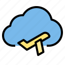 cloud, plane, storage, technology icon