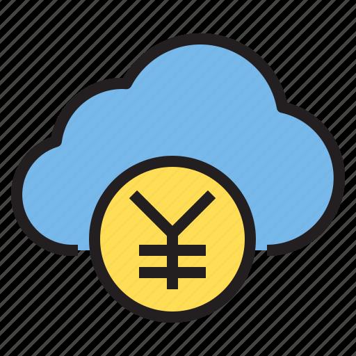 business, cloud, money, storage, technology, yen icon