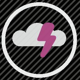 cloud, electric, error, shock, warning icon