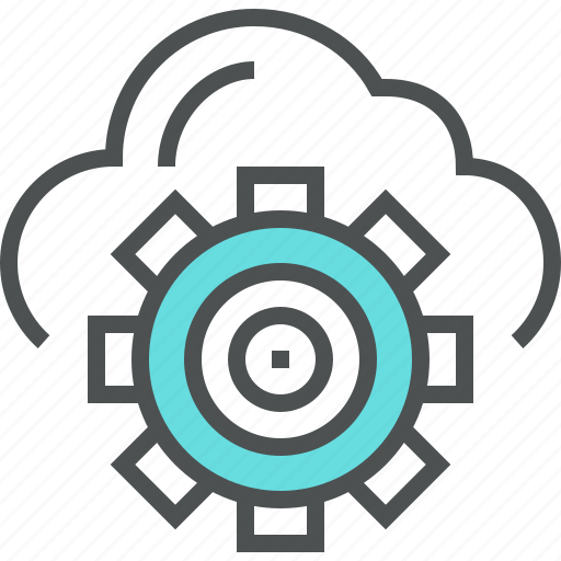 cloud, cogwheel, gear, mechanism, process, technical, work icon