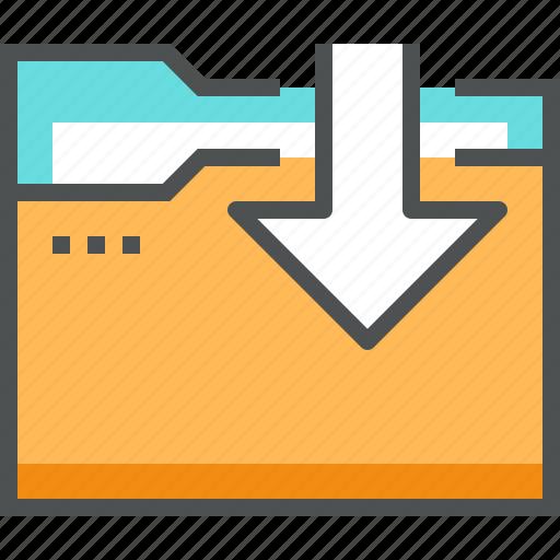 arrow, directory, document, download, folder, inbox, storage icon