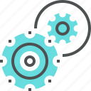 cogwheel, engineering, management, mechanism, process, production, teamwork icon