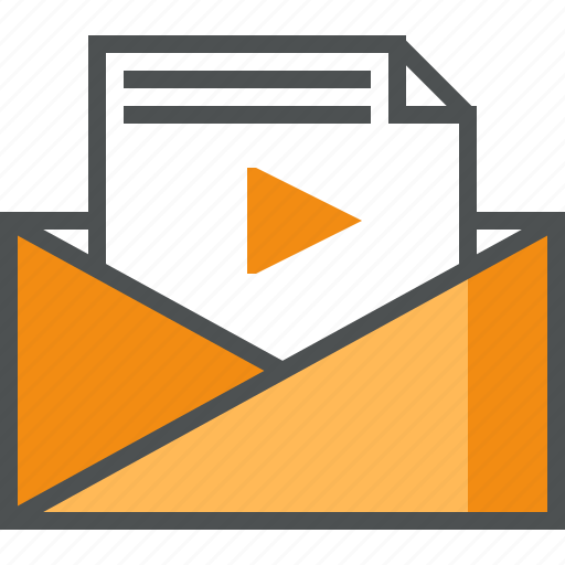 mail, media, message, play, receive, sharing, video icon