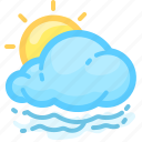 cloud, cloudy, fogg, foggy, forecast, sun, weather icon