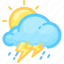 cloud, forecast, rain, rainy, sun, thunderstorm, weather icon